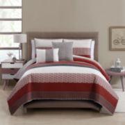 Victoria Classics Nova Denim 5-pc. Striped Quilt Set