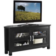 "Beckert 44"" Black Wood Corner Entertainment Center"