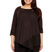 Alyx® 3/4-Sleeve Burnout-Striped Asymmetrical Top- Plus