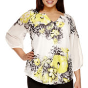 Alyx® 3/4-Sleeve Sublimation Peasant Blouse - Plus
