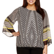 Alyx® Angel-Sleeve Border-Print Bubble Top - Plus