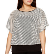 Alyx® Dolman-Sleeve Mesh-Striped Top - Plus