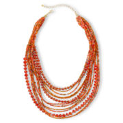 Gold-Tone Orange Seed Bead Necklace