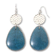 Mixit™ Silver-Tone Aqua Teardrop Hammered Earrings