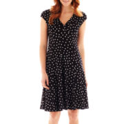 Black Label by Evan-Picone Cap-Sleeve Dot Print Midi Dress
