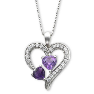 jcpenney.com | Lab-Created Amethyst & White Sapphire Heart Pendant Necklace