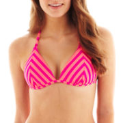 Arizona Mitered-Stripe Triangle Pushup Bra Swim Top - Juniors