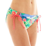 Arizona Tropical Print Adjustable Hipster Swim Bottoms - Juniors