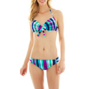 Arizona Plaid Pushup Bra Swim Top or Shirred Hipster Bottoms - Juniors