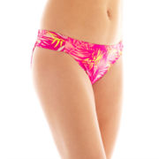 Arizona Tropical Print Shirred Side-Tab Hipster Swim Bottoms - Juniors