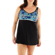 Delta Burke® Spotty Dot Empire-Waist 1-Piece Swimdress - Plus