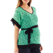 Maternity Dolman-Sleeve Belted Top