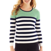 Liz Claiborne Long-Sleeve Ribbed Striped Sweater - Petite