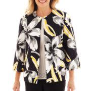 Alfred Dunner® Monte Carlo Flower-Print Crinkle Jacket - Petite
