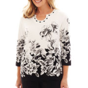 Alfred Dunner® Monte Carlo Border Floral-Print Knit Top - Petite