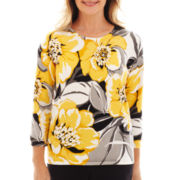 Alfred Dunner® Monte Carlo Floral-Print Sweater - Petite
