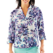 Lark Lane® Agua Fresia Roll-Tab Button-Front Blouse