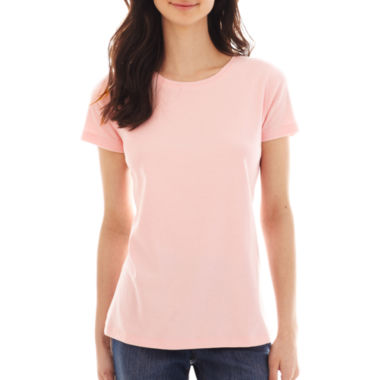 jcpenney.com | St. John's Bay® Essential Relaxed Fit Short-Sleeve Crewneck T-Shirt - Petite