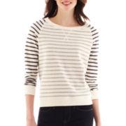 jcp™ Inside-Out Striped Sweatshirt