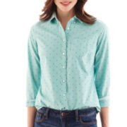jcp™ Long-Sleeve Flocked Dot Oxford Shirt