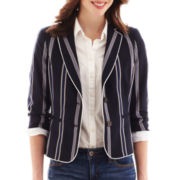 jcp™ 3/4-Sleeve Striped Blazer