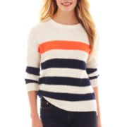 jcp™ 3/4-Sleeve Striped Sweater