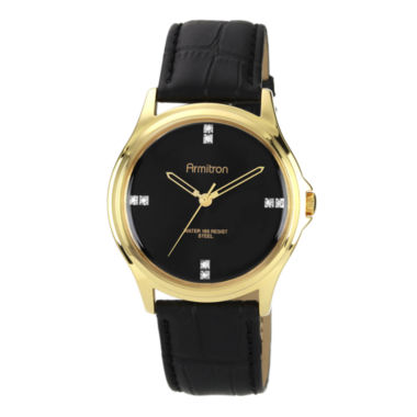 jcpenney.com | Armitron® Mens Crystal-Accent Black Leather Strap Watch
