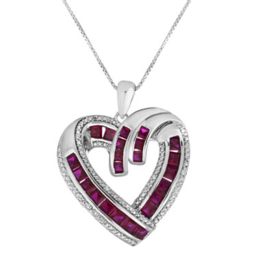 jcpenney.com | Lab-Created Ruby and Diamond-Accent Heart Pendant Necklace