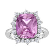 Cushion-Cut Lab-Created Pink Sapphire and White Sapphire Ring