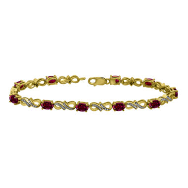 jcpenney.com | Lab-Created Ruby and Diamond-Accent Gold Over Silver Tennis Bracelet