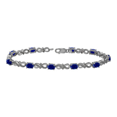 jcpenney.com | Lab-Created Sapphire and Diamond-Accent Gold Over Silver Tennis Bracelet