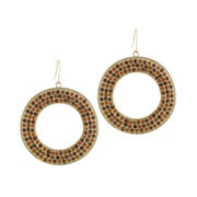 Jardin Brown Crystal Gold-Tone Drop Hoop Earrings