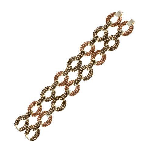 Jardin Pavé Brown Stone Two-Row Gold-Tone Link Bracelet