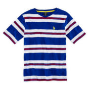 U.S. Polo Assn.® Short-Sleeve Striped V-Neck Knit Tee - Boys 8-18