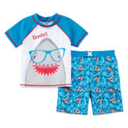 Baby Buns 2-pc. Shark Swim Set - Boys 2t-4t