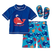 Wippette Little Squirt 2-pc. Swim Set Plus + FREE GIFT Flip Flops - Boys 2t-4t