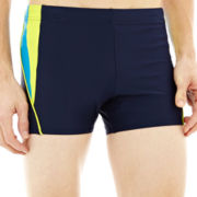 Speedo® Fitness Splice Square-Leg Swim Trunks