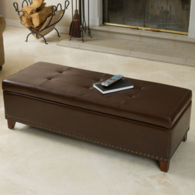 jcpenney.com | Carrington Bonded Leather Storage Bench with Nailhead Trim