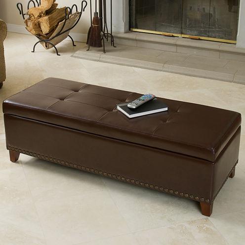 Carrington Bonded Leather Storage Bench with Nailhead Trim