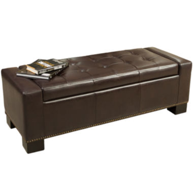jcpenney.com | Slater Bonded Leather Storage Bench with Nailhead Trim