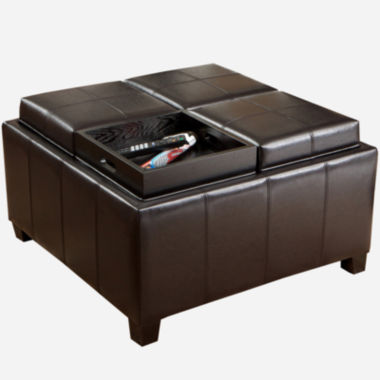 jcpenney.com | Flynn Bonded Leather Tray-Top Storage Ottoman
