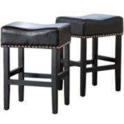 Fallon Set of 2 Backless Bonded Leather Barstools