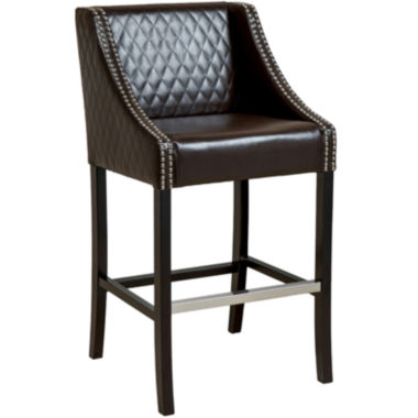 jcpenney.com | Taryn Quilted Bonded Leather Barstool with Nailhead Trim
