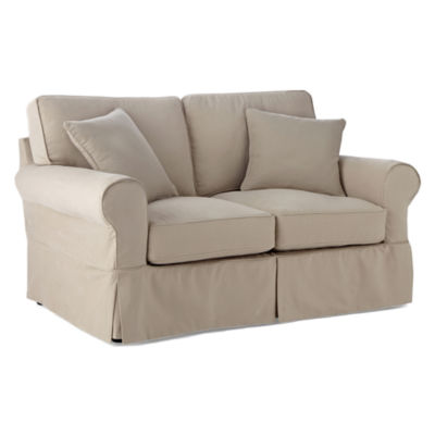 slipcovers khaki used duck p fit piece s slipcover t cushion relaxed furniture serta chair loveseat