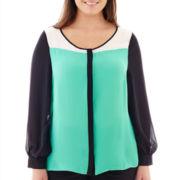 Worthington® Long-Sleeve Button-Front Colorblock Blouse - Plus