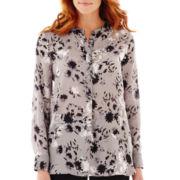 Liz Claiborne® Long-Sleeve Woven Print Tunic Top