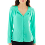 Worthington® Long-Sleeve V-Neck Blouse - Petite