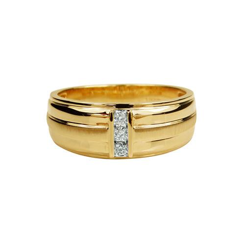 Mens 1/10 CT. T.W. White Diamond 10K Gold Band