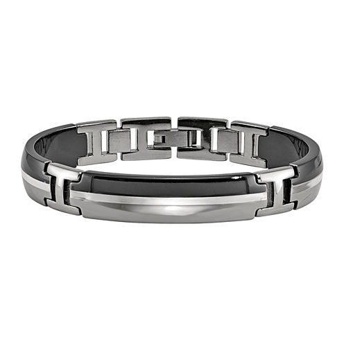 Edward Mirell Black Ti™ Mens 8 Inch Sterling Silver Titanium Link Bracelet