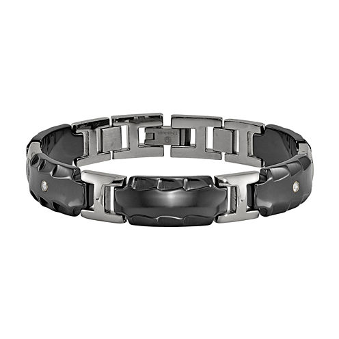 Edward Mirell Black Ti™ Mens 8 Inch 1/8 CT. T.W. Black Diamond Titanium Link Bracelet